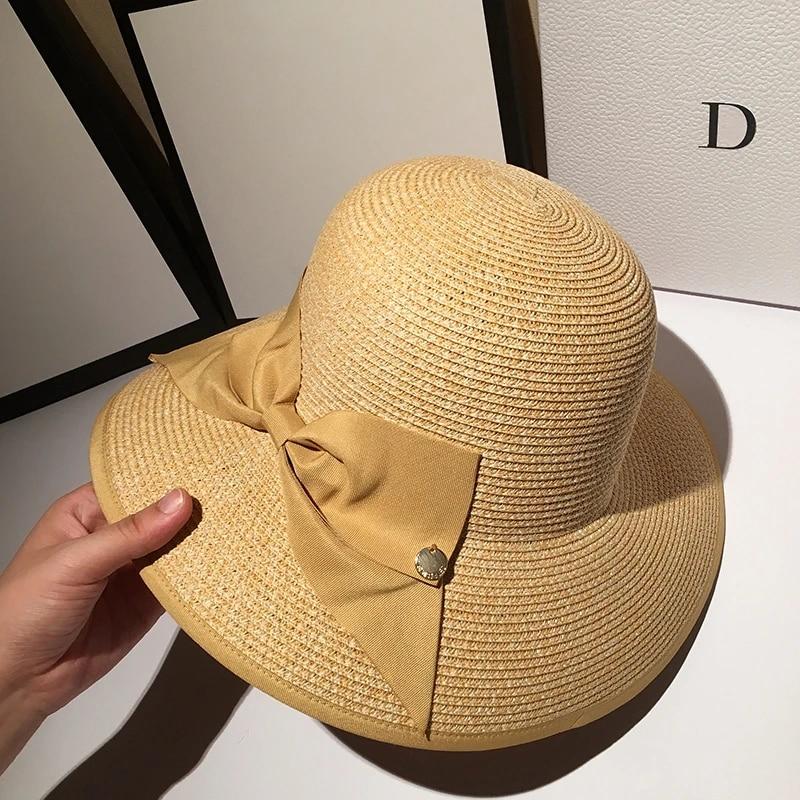 Flat Brim Women Beach Straw Hat Ladies Cap Summer Hat Panama Sun Hats Knit Cap