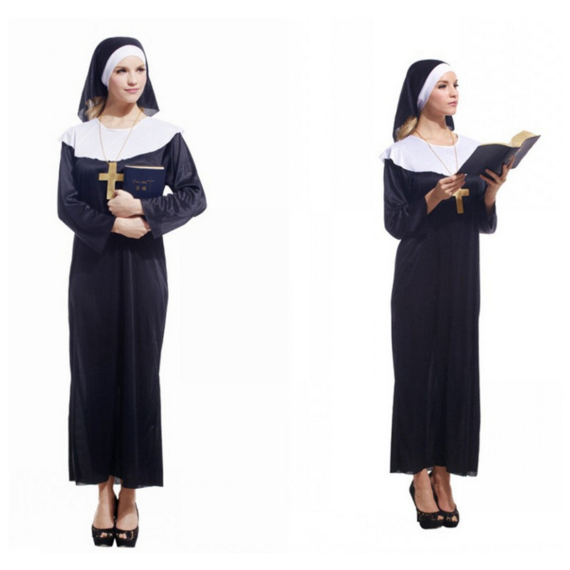 Halloween COSPLAY Suits Women Dress The Nun Maria Image Role Play Long Dresses With Hat Adult One Size