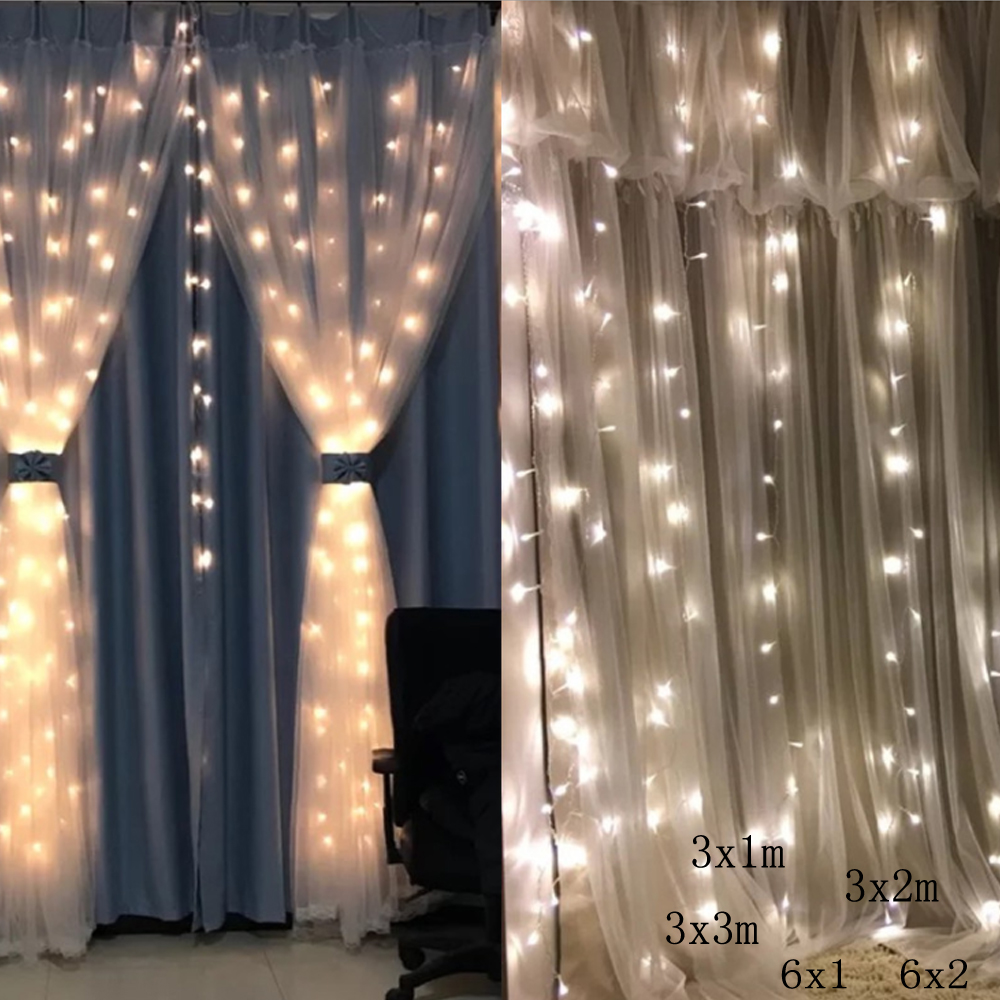3x1 3x3 6x2 300/600LEDS Home Outdoor Holiday Christmas Decorative Wedding Xmas String Fairy Curtain Garlands Strip Party Lights