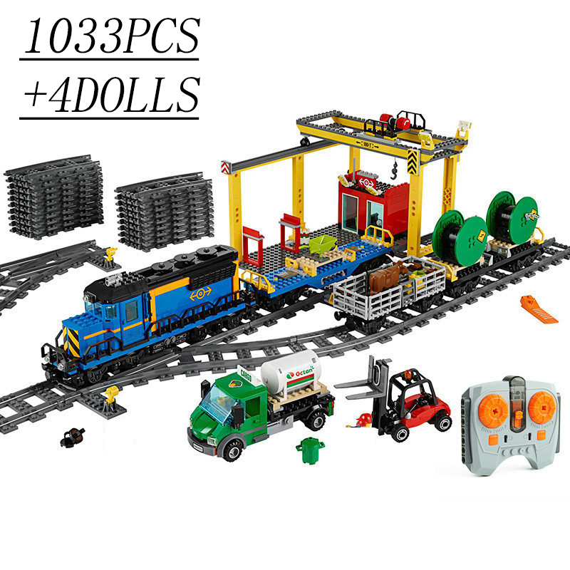 1033Pcs+4Dolls City Series Freight Train Remote Control Building Block Toys Remote Control Train Toys For Children Technicingly