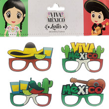 цена на 8pcs/lot Mexico Photo Prop Mexico Cactus Paper Glasses Mexico Theme Birthday Party Decor Summer Party Supplies Baby Shower For K