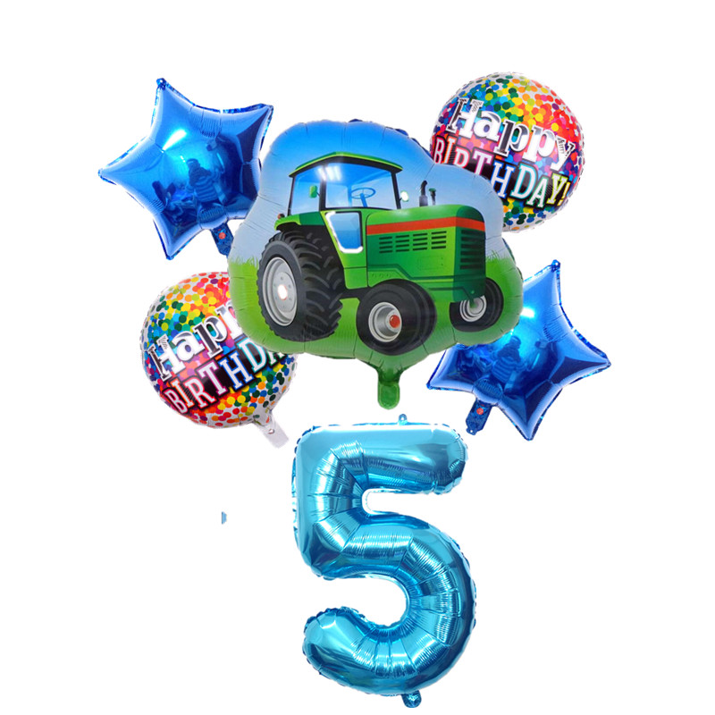 6pcs Cartoon Car Ballons Tractor Globos 32inch 1 2 3st Number Children Boy Gifts Birthday Party Holiday Decorations Kids Balls-3