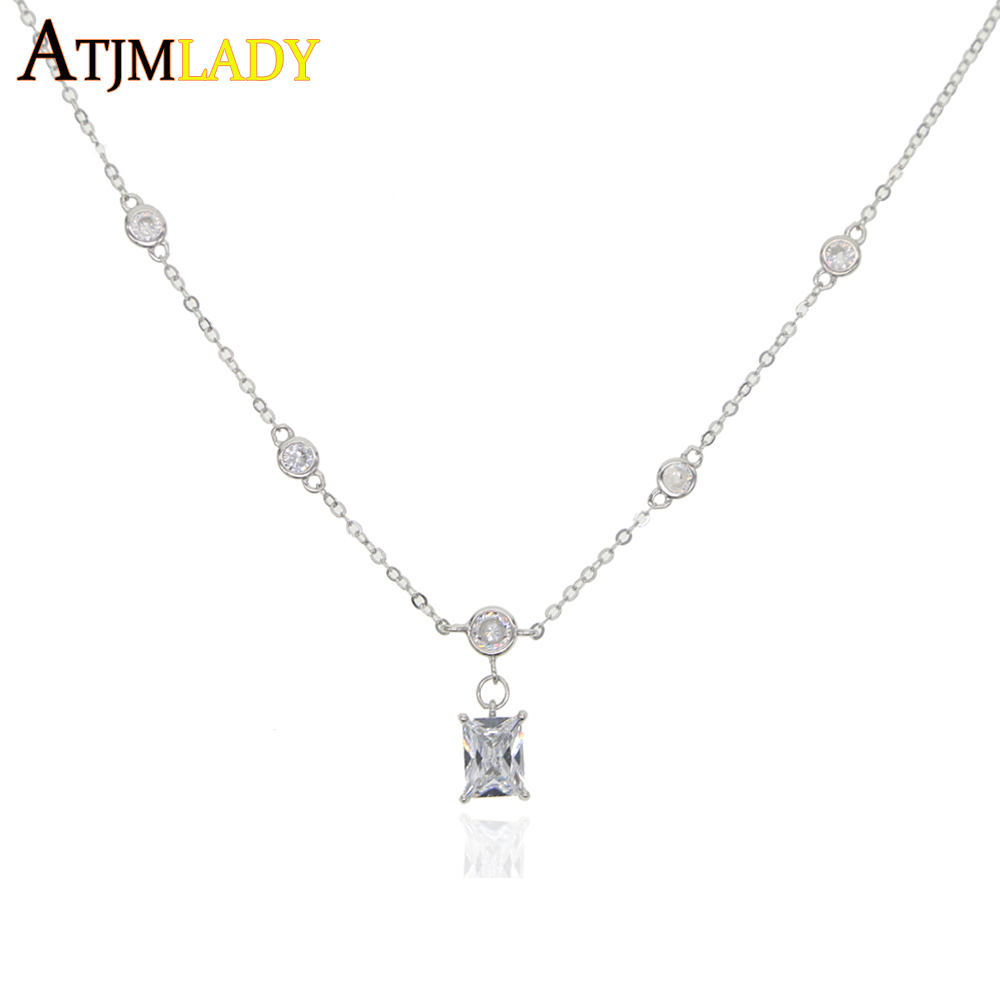 925 sterling silver trendy fashion round cz station jewelry dainty cz single baguette stone charm chain necklace women jewelry