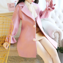 цены Korean Fashion Joker Winter Nail Bead Woolen Cloth Coat High Quality Women Coat Princess Fashion Overcoat Sweet Girl Outfit