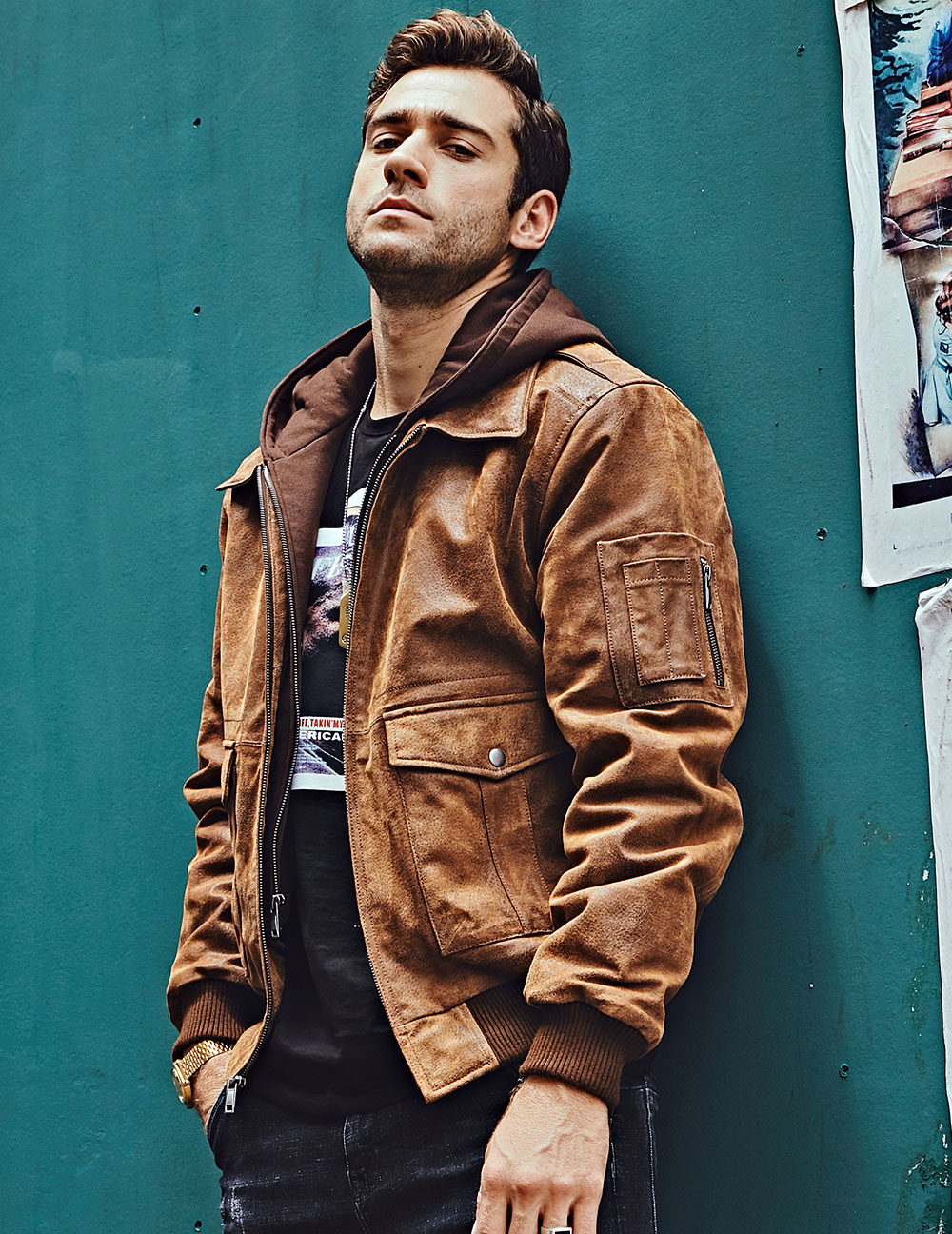 H29fdb4bd6ac4432198cf0d01abfee83ce FLAVOR New Men's Genuine Leather Bomber Jackets Removable Hood Men Air Forca Aviator winter coat Men Warm Real Leather Jacket