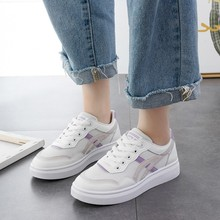 2019 New Spring Summer With White Shoes Woman Flat Pu Leather Female Board Casual Sneakers C0067