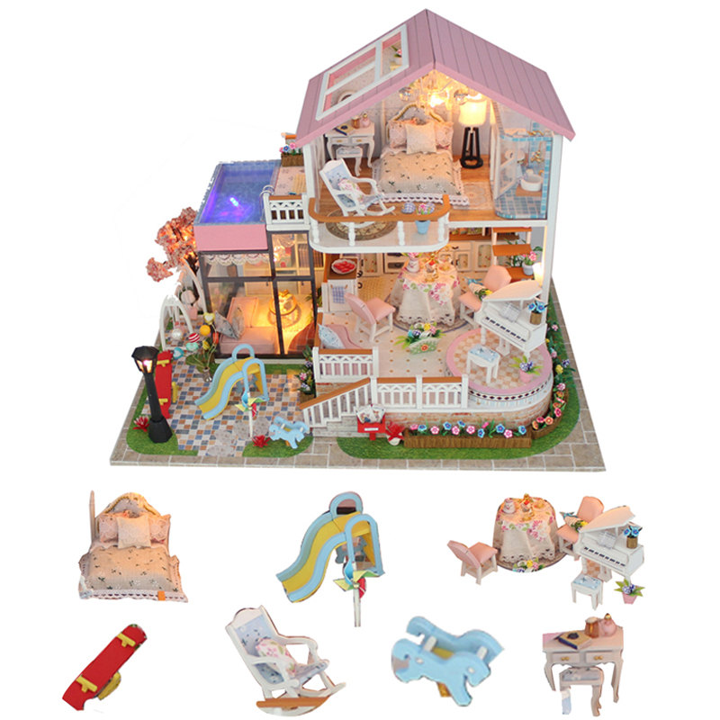 Diy Wooden Doll House Big Miniature Child Doll House Toy Garden Miniatures Dollhouse Kitchen Domek Dla Lalek Drewniany Gifts