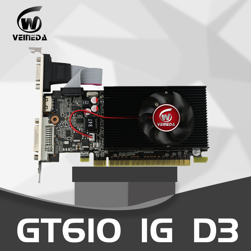 Veineda Video Card GT610 1GB 64Bit DDR3 Graphics Cards /1000MHzfor NVIDIA Geforce GPU VGA Used