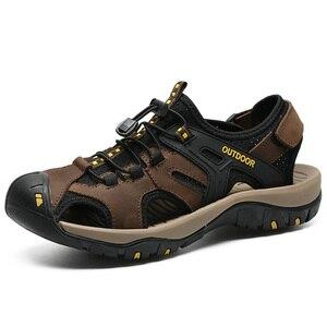 Image 3 - Letnie męskie sandały oryginalne skórzane biznesowe obuwie męskie oddychający design sandały plażowe rzymskie trampki wodne