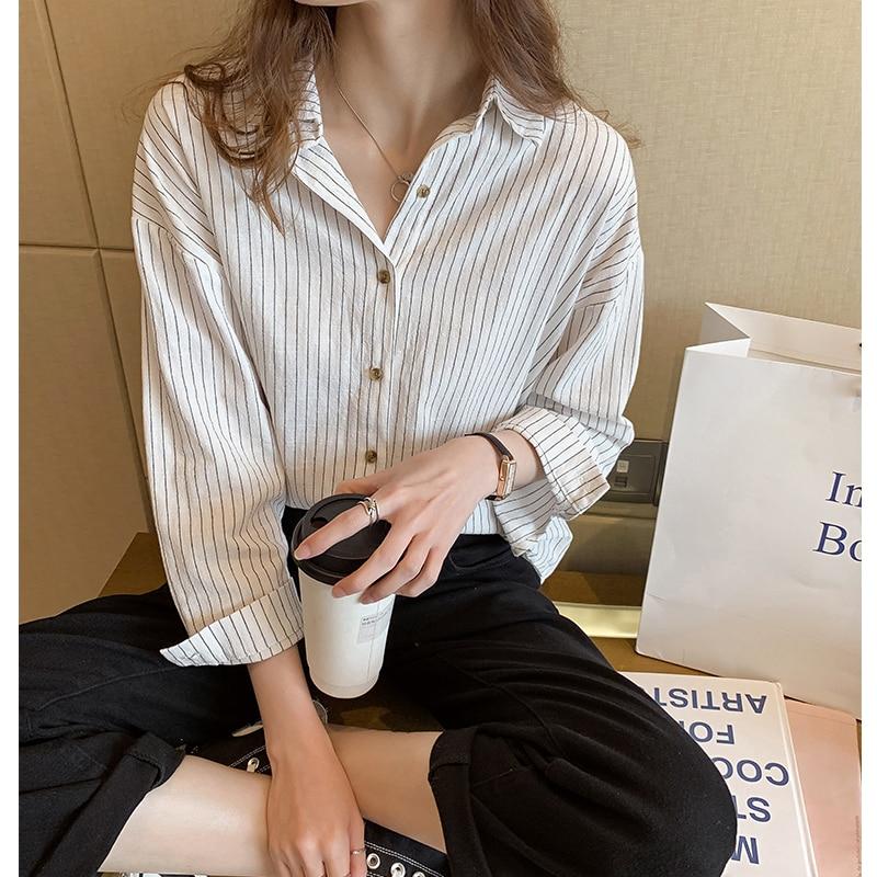 2020 Spring Long Sleeve White Shirts Korean Leisure Striped Shirts Button Plus Size Women Tops