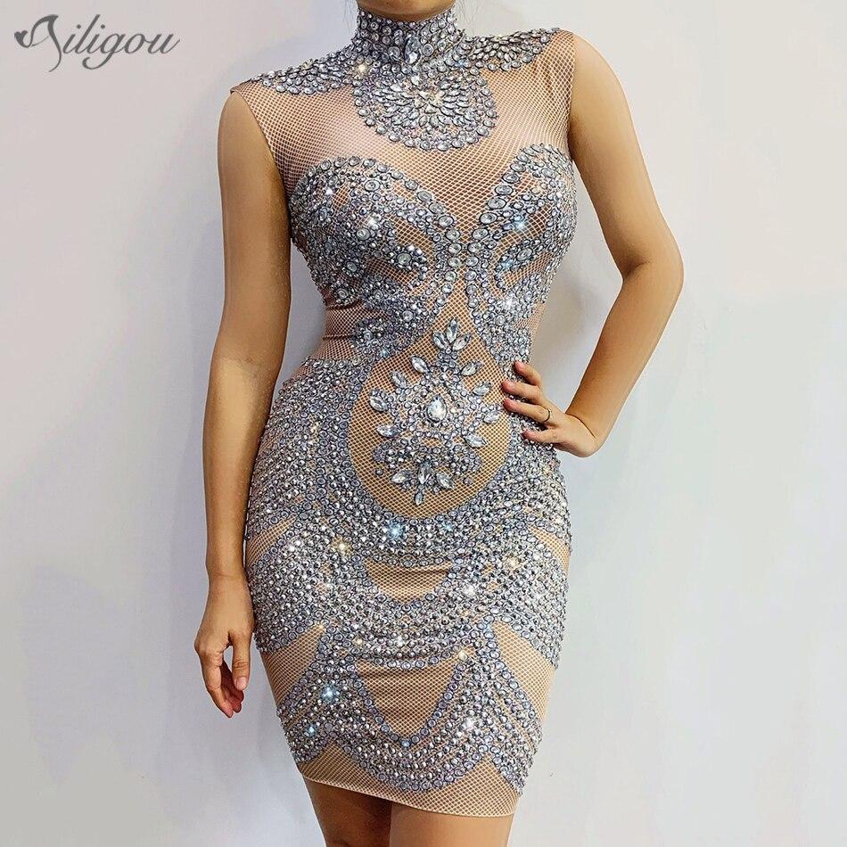 Ailigou 2020 New Women'S Silver Sleeveless Crystal Beaded Dress Female Singer Dancer Dress Ballet Birthday Costume Dress