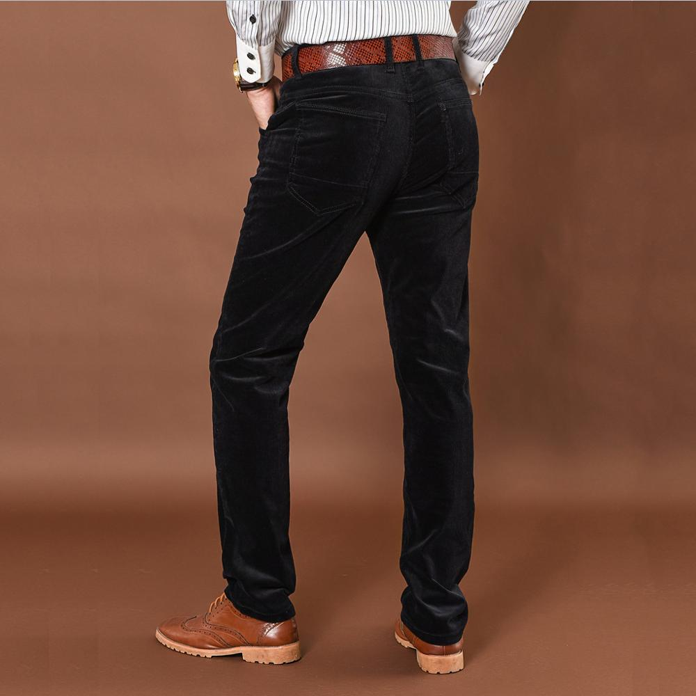 Image 3 - NIGRITY winter thick men pants mid waist loose trousers elastic  corduroy pants long straight business casual pants 6 colors  -