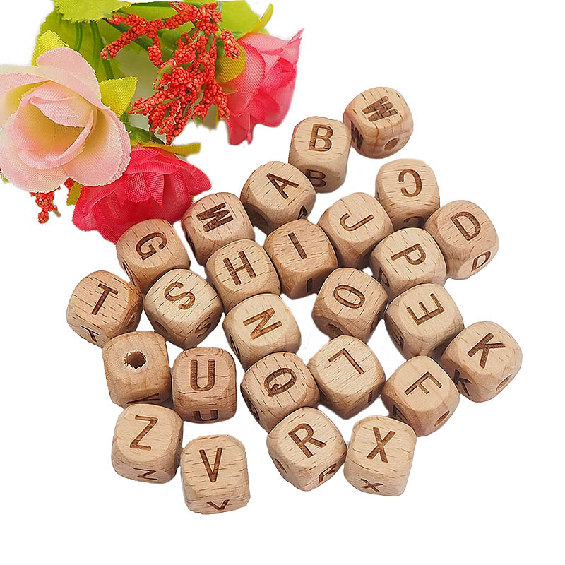 Chenkai 12mm 50PCS Square Wooden Alphabet Beads A-Z Letter Beads For Baby Dummy Chewable Nursing Pacifier Chain Accessories