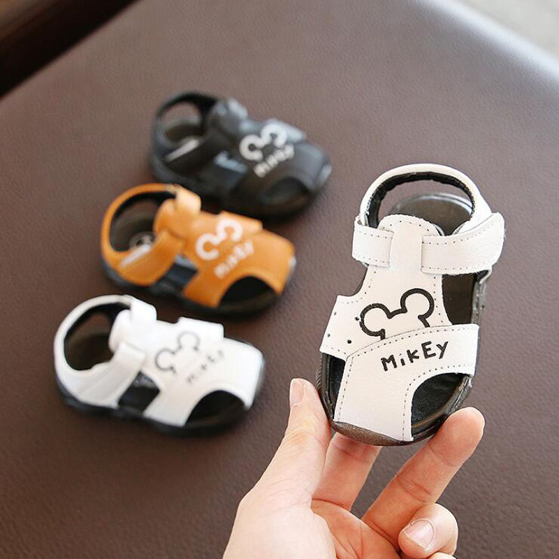 2020 Summer Cartoon Baby Shoes Closed Toe Soft Leather Baby Boys Sandals Infant Toddler Shoes Beach Sandals For Kids 11.3-13.3cm
