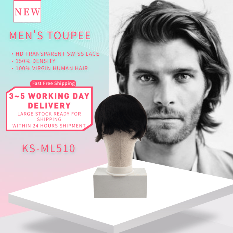 K.S WIGS 6'' Men Toupee Silk Base Mono Net Wig Remy Human Hairpiece Breathable Lace Frontal Durable Hair Topper Wig 130% Density