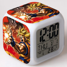 Dragon Ball Z LED di Allarme Orologio Colorato Bambini Flash Light Touch Goku Cartoon Orologio Da Tavolo Digitale con la Temperatura Orologio Elettronico(China)