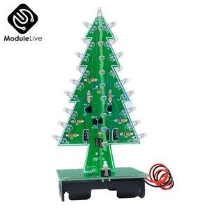 Árbol de Navidad en 3D, circuito de luz Flash de 7 colores, árboles de Navidad, Kits DIY, módulo electrónico LED Diy, Diy Kit de herramientas para el Ambiente