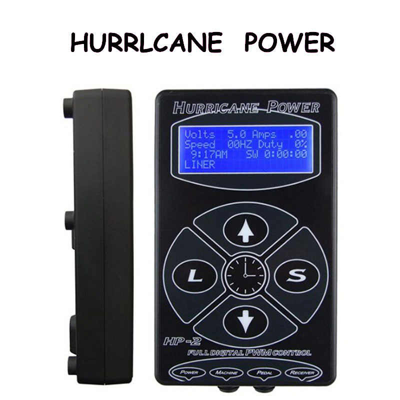 Nieuwste Zwart HP-2 Hurricane Tattoo Voeding Digital Dual LCD Display Tattoo Voeding Machines Voor Tattoo Machines