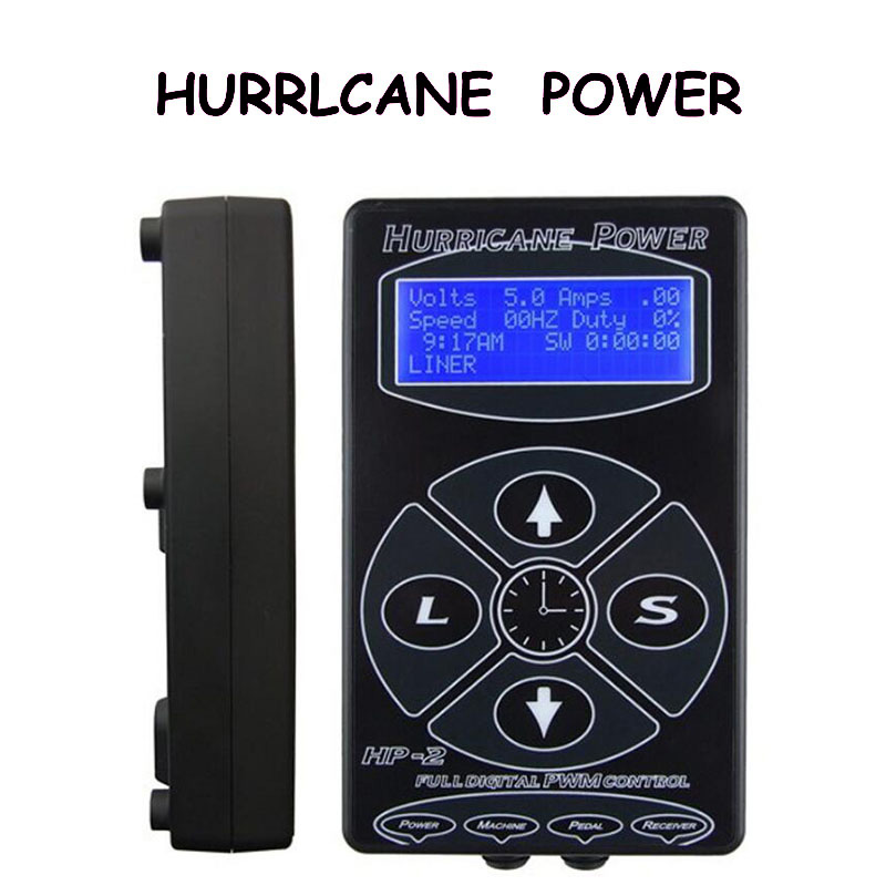 Newest Black HP-2 Hurricane Tattoo Power Supply Digital Dual LCD Display Tattoo Power Supply Machines For Tattoo Machines