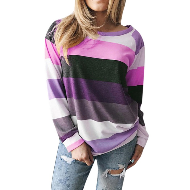 CALOFE 2020 Autumn Women Casual Loose Striped Pullover Sweatershirt Europe And The United Blouses Femme Blusas Mujer De Moda