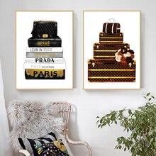Bolso de moda ilustración lienzo impresiones y carteles Revista Moderna Vogue libros arte pintura pared cuadros Decoración Para sala de estar