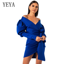 YEYA Women Casual Long Puff Sleeve Bow Bandage Bodycon Dress New Female V Neck Slim Short Fashion Office Ladies Dresses