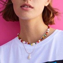 цены Boho seashell beads chain rainbow Choker necklace for women female Candy Color Multi Layered alloy Pendant Fashion jewelry 2019