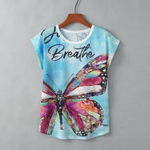 Women's T shirt Summer Mujer Tee Funny Butterfly Two-Sided Print Animal Summer Short Sleeve T-Shirts Tops Streetwear Vintage