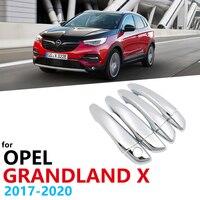 Opel Grandland X 2017-2020 용 고급스러운 새 크롬 도어 핸들 커버 트림 자동차 액세서리 스티커 캐치 자동 스타일링 2018 2019