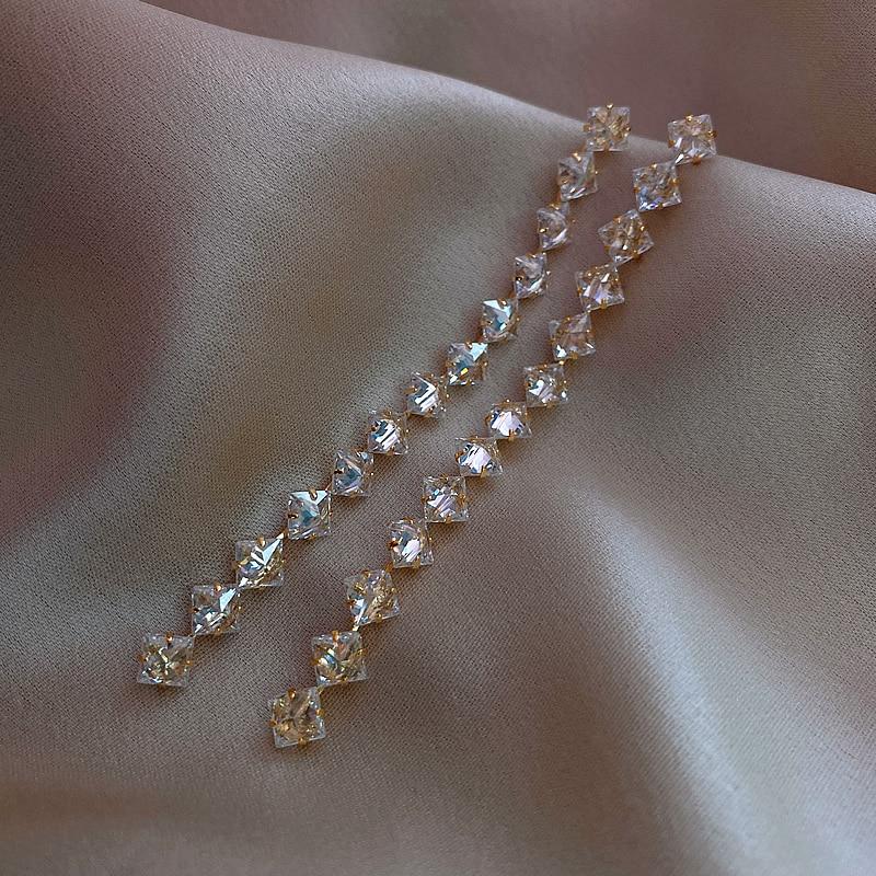 2020 new design 14k real gold electroplating jewelry long AAA zircon tassel earrings party elegant earrings