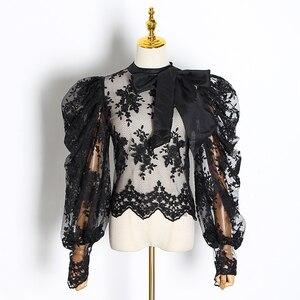 Image 3 - TWOTWINSTYLE التطريز الدانتيل women البلوزات القوس طوق فانوس كم طويل منظور قمصان الإناث 2020 ملابس عصرية المد