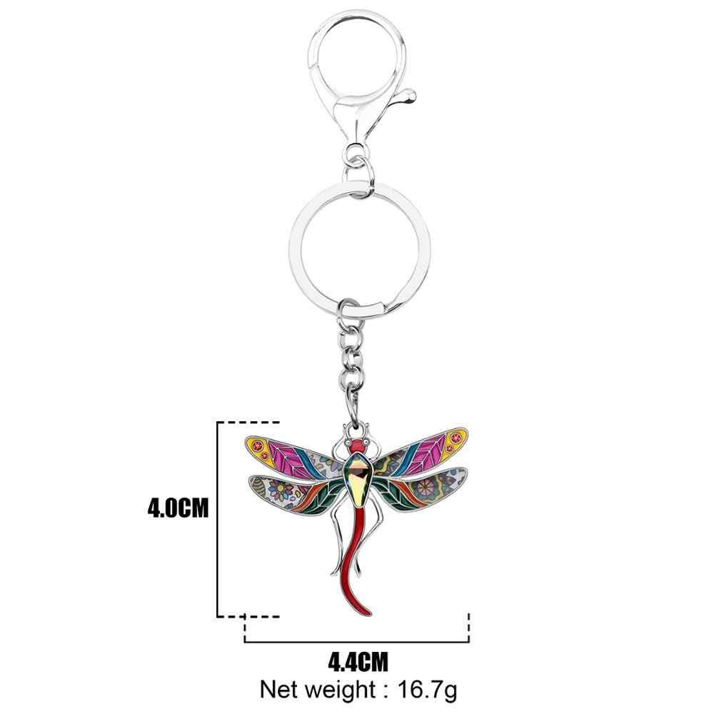 Bonsny Enamel Alloy Rhinestone Bloemen Dragonfly sleutelhangers Ring Auto Purse Bag Decoratie Sleutelhanger Voor Vrouwen Girl Teen Charm Gift