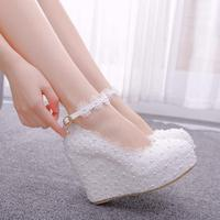 Crystal Queen New White Wedges Wedding Pumps Sweet White Flower Lace Pearl Platform Pump Shoes Bride Dress High Heels
