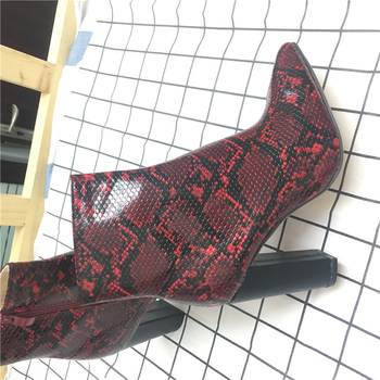 2019 Plus Size Women Boots 11cm High Heels Fetish Stripper Burgundy  Ankle Boots Prom Snake Print Block Heels Chunky Red Shoes 4