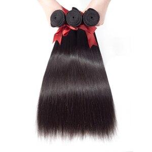 Image 3 - Luxediva naturalne włosy brazylijskie wiązki splecionych prostych włosów z zamknięcie koronki 4x4in Remy ludzkich włosów hurtowych luzem wiele cheveux