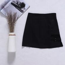 Черная Фасонная юбка в Корейском стиле мини-юбка-карандаш с асимметричным подолом