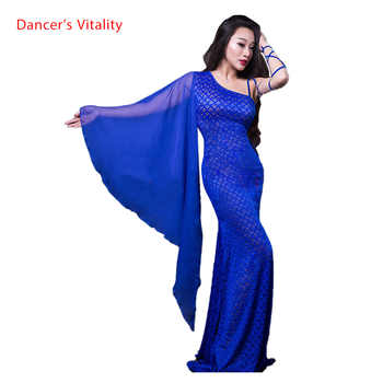 Women belly dance clothing lace elegant belly dance dress forMaster Performance belly dancing clothes dress single sleeves dress - DISCOUNT ITEM  10% OFF All Category