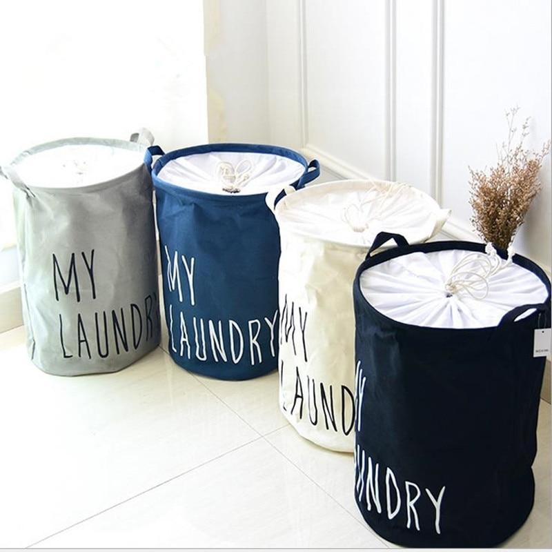 Cotton Linen Foldable Closure Laundry Basket Kids Toy Buckets Clothes Organizer Hamper Storage Large Capacity Bag Bins