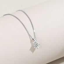 Genuine S925 sterling silver pendant rhombus Korean trend  zircon girlfriends gift fashion silverware jewelry