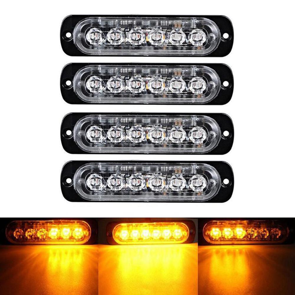 4pc 18 Modes 6LED Car Truck Light Rectangular 18W 1000LM Waterproof IP67 Emergency Beacon Warning Hazard Flash Strobe Lights