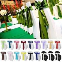 50/100/10pcs Wedding Chair Sashes Wedding Chair Bow Satin Chair Sashes Ribbon Party Chair Band Decoration Mariage