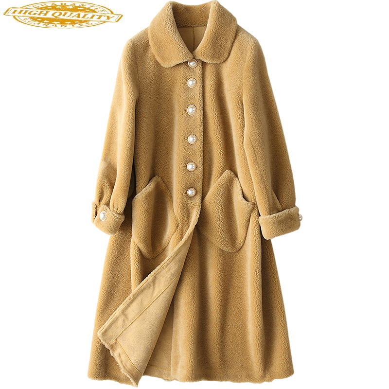 Sheep Shearing Coats Thick Real Wool Fur Coat Female 2020 Korean Fashion Long Warm Winter Jacket Women Outerwear TLR1323