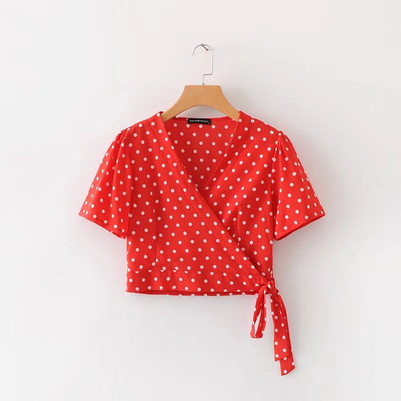 2018 Europe And America Women's Dress Versitile Fashion Polka Dot Cross Wrap-around Tops 0994 image