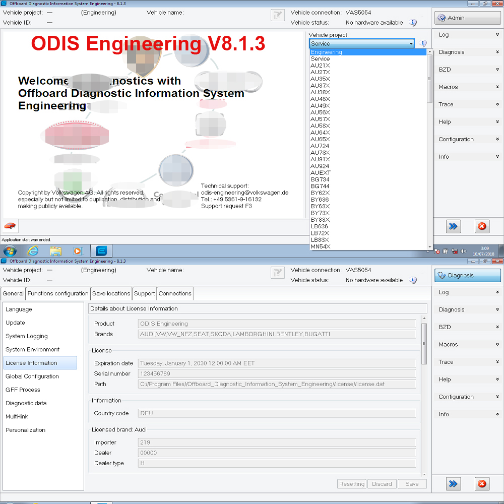 Original ODIS Engineering V8 1 3 ERWIN Flash License For VAS 5054A and VAS6154 Newest Version ODIS-E V8 13 Diagnostic Software