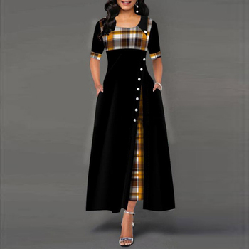 Women Spring Plaid Print Party Dress