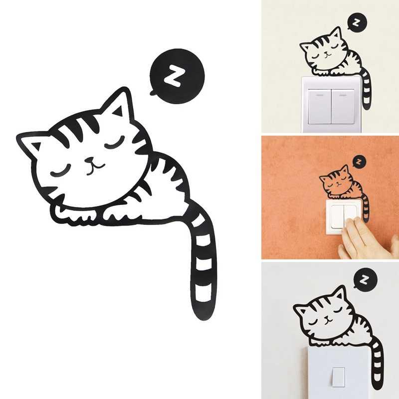 חמוד מתג מדבקת חתול שינה סגנון קיר מדבקות להסרה קיר אמנות קיר מדבקות קיר מדבקת ילדי חדר שינה דקור