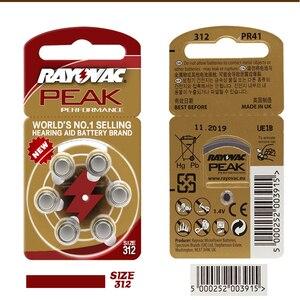 Image 2 - Batterie per apparecchi Acustici 30PCS/5 carte RAYOVAC PEAK A312/312/PR41 Dellaria Dello Zinco batterie 1.45V Formato 312 di diametro 7.9 millimetri di Spessore 3.6 millimetri
