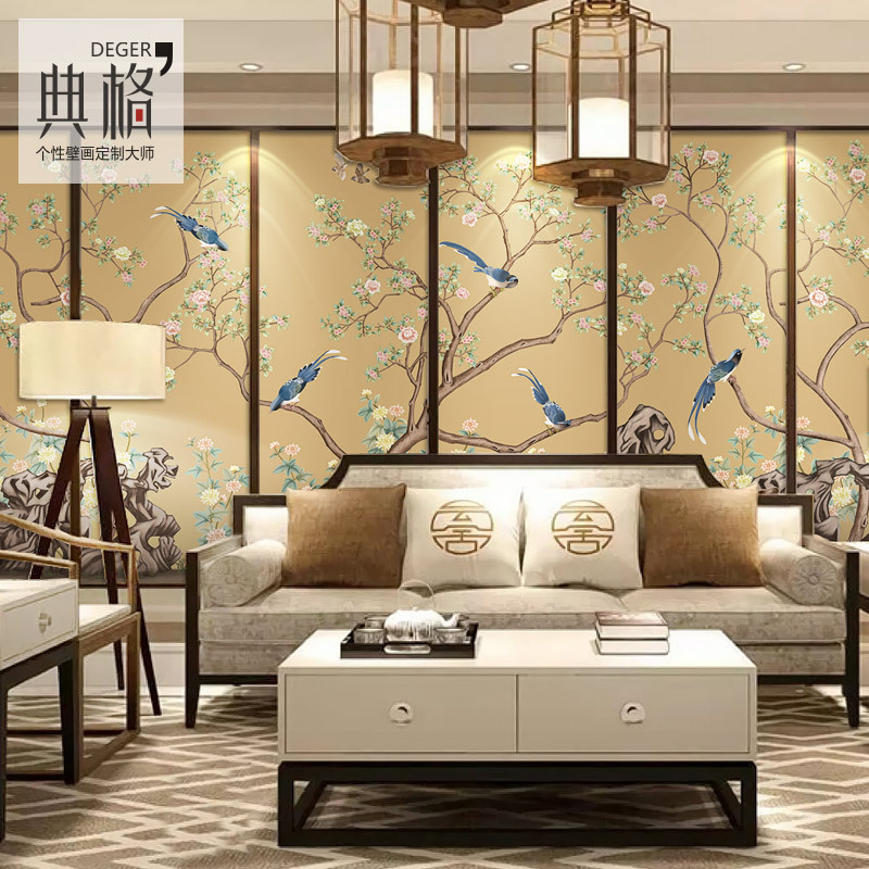 Modern Chinese Style Flowers And Birds Wallpaper Non-woven Wallpaper Television Film And Television Living Room Wall Customize T