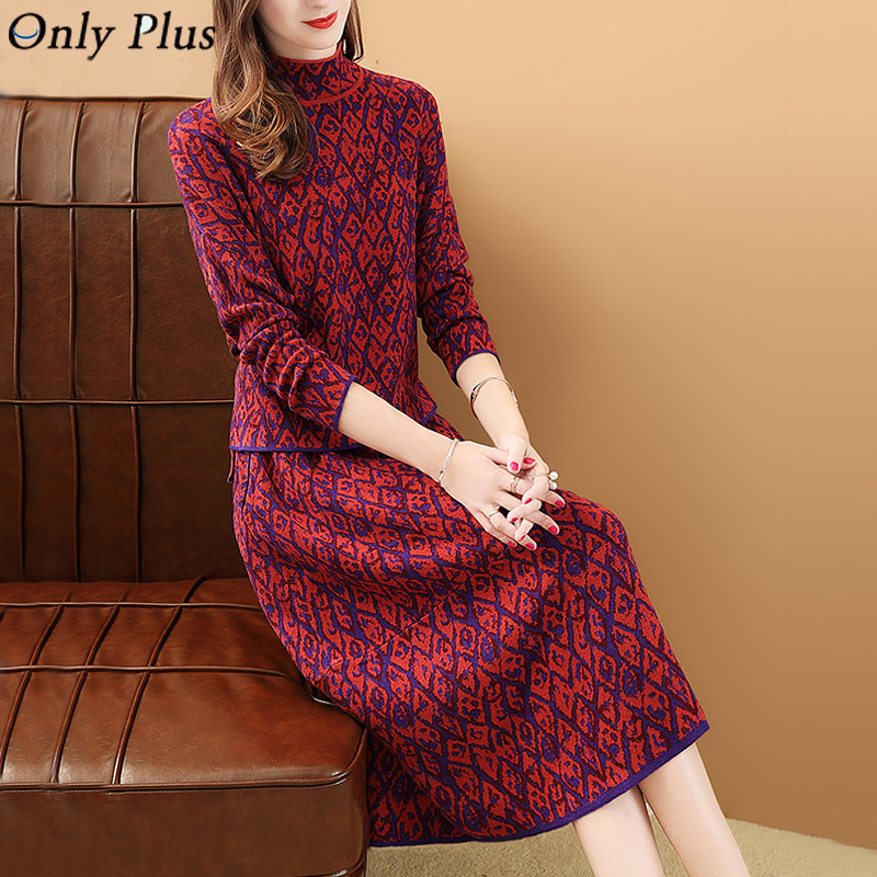 Only Plus Winter Women Skirt Suit Printed Woolen Knitted 2 Pieces Set Vintage Casual Red Skirt Suit Sets 2020 New Design