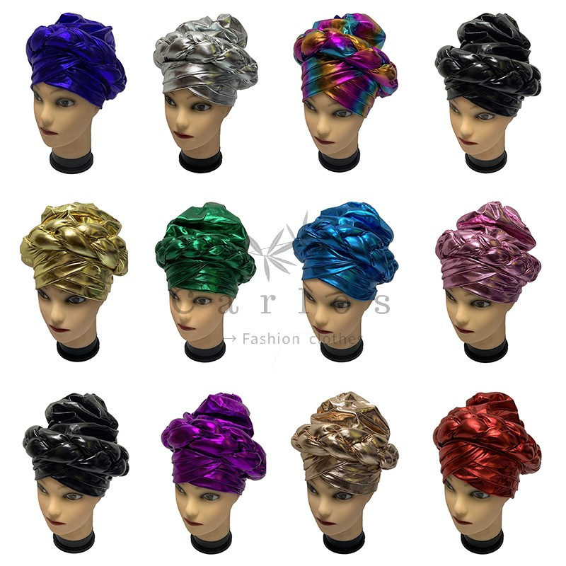 12 Pcs Newest Elegant Turban Hats Women Cap Beaded For India Hat Scarfs Head Wrap Headband Girl Hair Accessories Lady